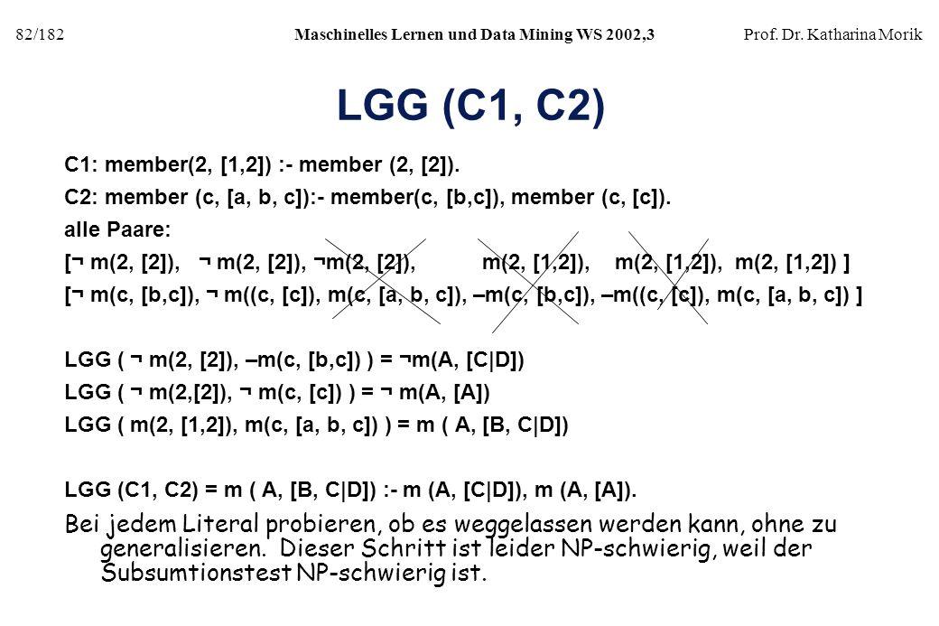 LGG (C1, C2) C1: member(2, [1,2]) :- member (2, [2]). C2: member (c, [a, b, c]):- member(c, [b,c]), member (c, [c]).